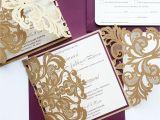 Burgundy themed Wedding Invitations Burgundy and Gold Wedding Invitations Sansalvaje Com