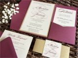 Burgundy themed Wedding Invitations Burgundy Wedding Invitation Burgundy and Gold Glitter Pocket