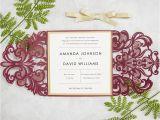 Burgundy themed Wedding Invitations Elegant Burgundy and Gold Laser Cut Wedding Invitations