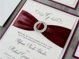 Burgundy themed Wedding Invitations Stefanie Burgundy and Silver Glitter Wedding Invitation