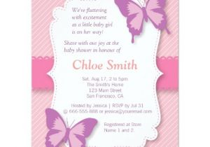 Butterfly Baby Shower Invites Free Elegant Purple butterfly Baby Shower 4 25×5 5 Paper