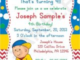 Caillou Party Invitations 8 Best Images About Caillou Birthday Party Ideas On Pinterest
