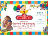 Caillou Party Invitations Caillou Birthday Party Invitation Custom Personalized
