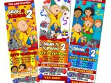 Caillou Party Invitations Caillou Birthday Party Invitation Ticket Custom Photo