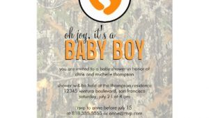 "Camo Baby Boy Shower Invitations orange Camo Baby Boy Shower Invitation 5"" X 7"