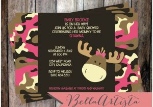 Camo Baby Shower Invites Pink & Girly Camouflage Moose Baby Shower Invitation