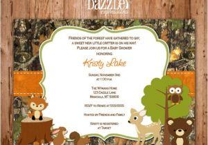 Camo Baby Shower Invites Printable Wooodland Animal Camo Baby Shower Invitation