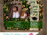 Camo Graduation Invitations Green Camouflage Graduation Invitations Printable or Prints