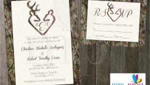 Camo Wedding Invites Camo Deer Hearts Wedding Invitation and Rsvp Card by Mrsprint