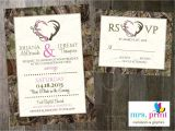Camo Wedding Invites Hooked On Love Camo Wedding Invitation and Rsvp Card by