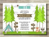Camping themed Baby Shower Invitations Couple Boy Baby Shower Invitation Great Adventure Tree