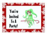 Candy Cane Christmas Party Invitations Candy Cane Elf Holiday Party Invitation