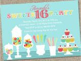 Candy themed Party Invitations Sweets 16 Birthday Party Invitation Candy Invitation Sweet
