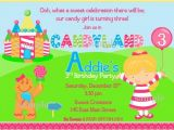 Candyland Birthday Invitation Wording Candyland Party Invitations