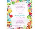 Candyland Birthday Invitation Wording Personalized Candy theme Birthday Party Invitations