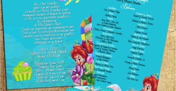 Candyland Quinceanera Invitations Teal Candyland Invitations Quinceanera with Padrinos In
