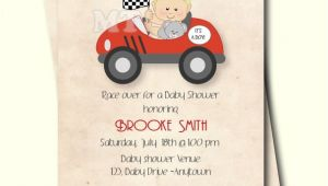 Car themed Baby Shower Invitations Race Car Baby Shower Invitation Retro Style Boy Baby Shower