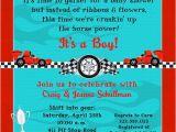 Car themed Baby Shower Invitations Race Car Shower Invitation Baby Boy Horsepower Red