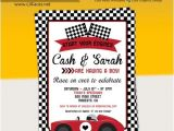 Car themed Baby Shower Invitations Vintage Red Racing Car Baby Shower Invitations