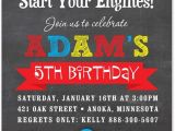 Car themed Birthday Invitation Templates Boy Birthday Invitations Red Race Car Chalkboard Birthday