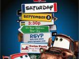 Car themed Birthday Invitation Templates Disney Pixar Cars Lightning Mcqueen Mater Birthday Party