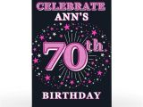 Card Factory Party Invitations Personalised 70th Birthday Invitation Pink Stars