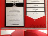 Cards and Pockets Wedding Invitations Details About Red Shimmer Wedding Invitations Diy Pocket