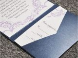 Cards and Pockets Wedding Invitations Elegant Purple Damask Card and Blue Pocket Affordable