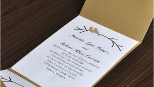 Cards and Pockets Wedding Invitations Love Birds Card and Elegant Gold Pocket Wedding Invites