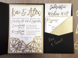 Cards and Pockets Wedding Invitations My Diy Story Geometric Black Gold Foil Pocket