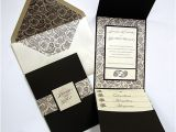 Cards and Pockets Wedding Invitations Paisley Floral Bitter Chocolate Pocket Invitation Cards