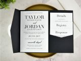 Cards and Pockets Wedding Invitations Real Diy Wedding Invitation Classic Black White Pocket