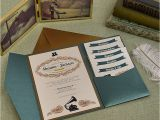 Cards and Pockets Wedding Invitations Vintage Jade and Antique Gold Wedding Pocket Invitation