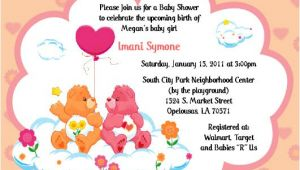 Care Bear Baby Shower Invitations Care Bears Invitations Baby Shower or Birthday by