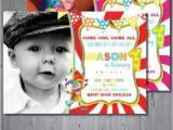 Carnival First Birthday Invitations Circus Birthday Invitation First Birthday Party