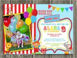 Carnival themed 1st Birthday Party Invitations Circus 1st Birthday Invitations