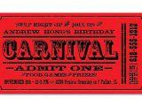 Carnival Ticket Birthday Party Invitations Carnival Birthday Invitations Ideas Bagvania Free