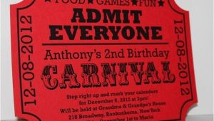Carnival Ticket Birthday Party Invitations Carnival Birthday Ticket Invitation