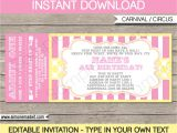Carnival Ticket Birthday Party Invitations Carnival Birthday Ticket Invitations Template Carnival