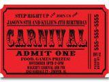 Carnival Ticket Birthday Party Invitations Carnival Ticket Birthday Party Invitations Announcement