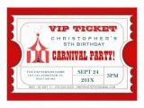 Carnival Ticket Birthday Party Invitations Circus Ticket Style Invitation Template Party