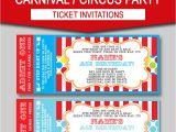 Carnival Ticket Birthday Party Invitations Editable Carnival Ticket Invitations Circus or Carnival