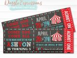 Carnival Ticket Birthday Party Invitations Printable Circus or Carnival Chalkboard Ticket Birthday