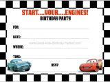 Cars Birthday Party Invitation Templates Free Disney Cars Birthday Party