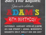 Cars themed Birthday Invitation Boy Birthday Invitations Red Race Car Chalkboard Birthday