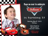Cars themed Birthday Invitation Card Disney Cars Lightning Mcqueen Mater Birthday Party Invitation