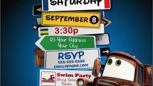 Cars themed Birthday Invitation Disney Pixar Cars Lightning Mcqueen Mater Birthday Party