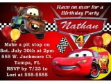 Cars themed Invitation Birthday Quot Disney Cars Birthday Party Invitations Quot