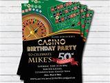 Casino Invites for Parties Casino 50th Birthday Invitation Adult Man Birthday Surprise