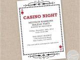Casino Night Holiday Party Invitations Printable Casino Night Invitation Holiday Party by